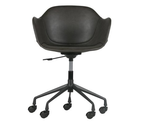 WOOOD Desk chair Fos gray PU leather 59x53,5x77-83cm
