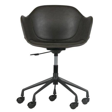 WOOOD Chaise de bureau Fos gris PU cuir 59x53,5x77-83cm