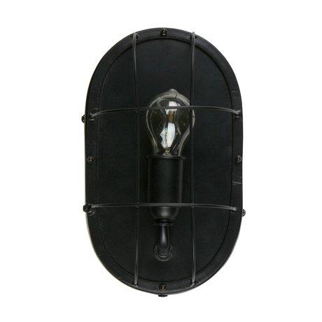 WOOOD Wandlamp Gabber zwart metaal 18x12x30cm