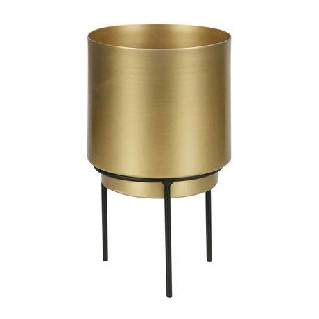 WOOOD Pot voor plant Guus brass goud metaal Ø13x22,5cm
