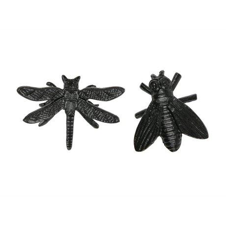 WOOOD Decoratie insecten Chris zwart metaal set van 2