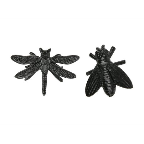 WOOOD Decoration insects Chris black metal set of 2