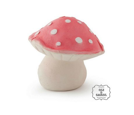 Oli & Carol Badspeeltje Forest paddenstoel rood natuurlijk rubber10x8cm