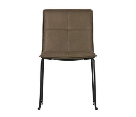 WOOOD Dining chair Evan brown PU leather metal set of 2 47,5x56x85,5cm