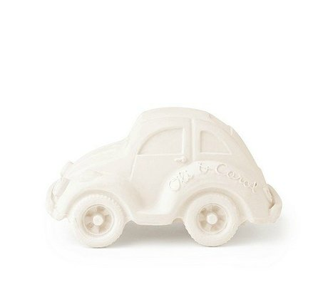 Oli & Carol Badspeeltje auto wit natuurlijk rubber 6x10cm