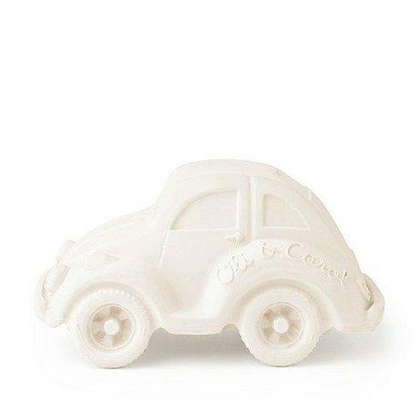 Oli & Carol Bain jouet de voiture blanc en caoutchouc naturel 6x10cm