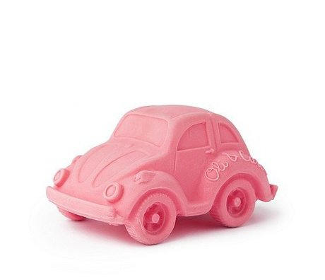 Oli & Carol Bath toy car pink natural rubber 6x10cm