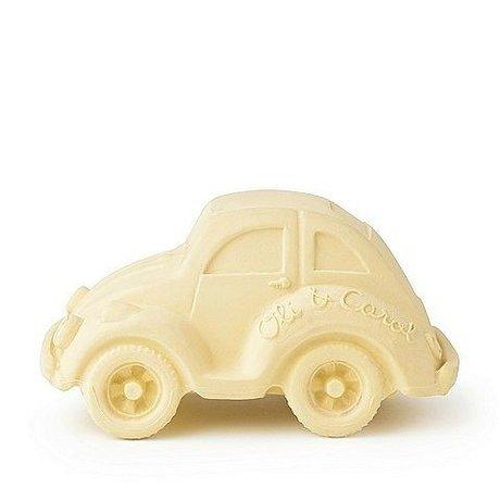 Oli & Carol Bain jouet voiture vanille jaune caoutchouc naturel 6x10cm