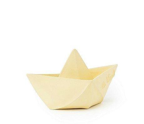 Oli & Carol Baignoire jouet bateau vanille jaune caoutchouc 12x7cm