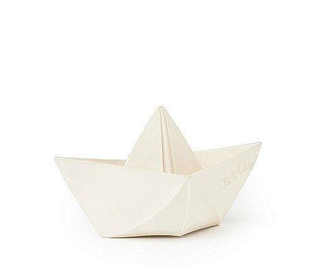 Oli & Carol Badespielzeug Boot aus weißem Naturkautschuk 12x7cm