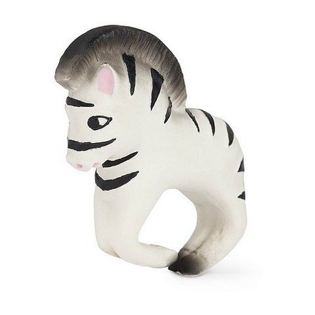 Oli & Carol Bad und Zahnen Spielzeug Armband Zebra schwarz weiß Naturkautschuk 8x10cm