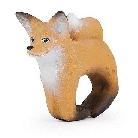 Oli & Carol Bad en bijtspeeltje armband vos bruin natuurlijk rubber 8x10cm