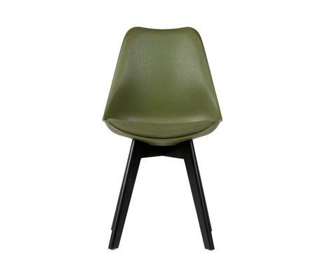 WOOOD Eetkamerstoel Stan groen kunststof hout set van 2 47x56x82,5cm