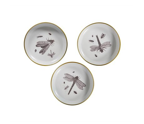 WOOOD Deco plates Insect white metal set of 3 Ø25x4,5cm