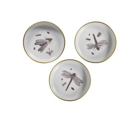 WOOOD Decobordjes Insect wit metaal set van 3 Ø25x4,5cm
