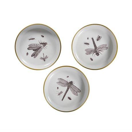 WOOOD Assiettes Deco Assortiment d'insectes en métal blanc de 3 Ø25x4,5cm