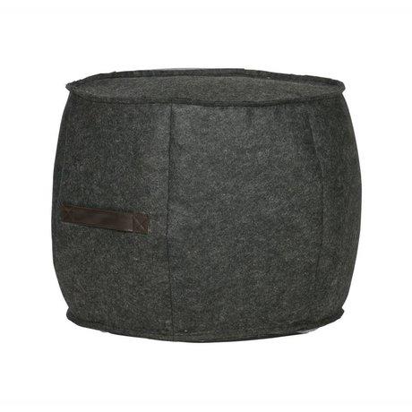 WOOOD Pouf Tile anthracite gray felt Ø49x40cm