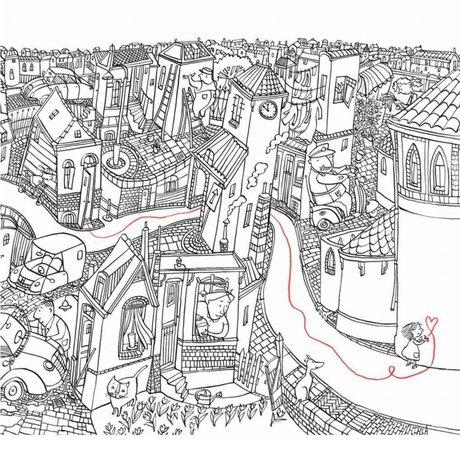 KEK Amsterdam Tapete Kleines Mädchen zeichnet mehrfarbiges Vlies 292,2 x 280 (6 Blatt)