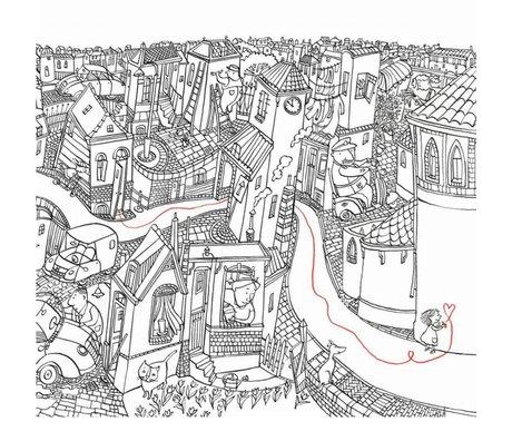 KEK Amsterdam Tapete Kleines Mädchen zeichnet mehrfarbiges Vlies 389,6 x 280 (8 Blatt)