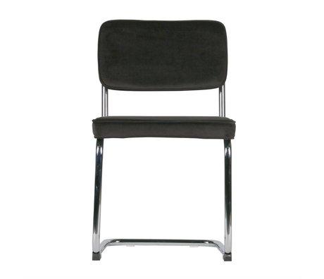 LEF collections Chaise de salle à manger Lien brun chrome velours lot de 2 48x52x83,5cm