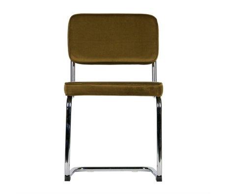 LEF collections Chaise de salle à manger Lien vert chrome velours lot de 2 48x52x83,5cm