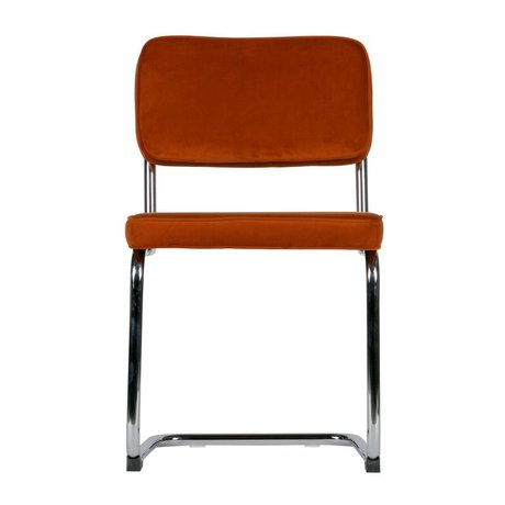 LEF collections Esszimmerstuhl Lien Rost Orange Chromsamt 2er Set 48x52x83,5cm