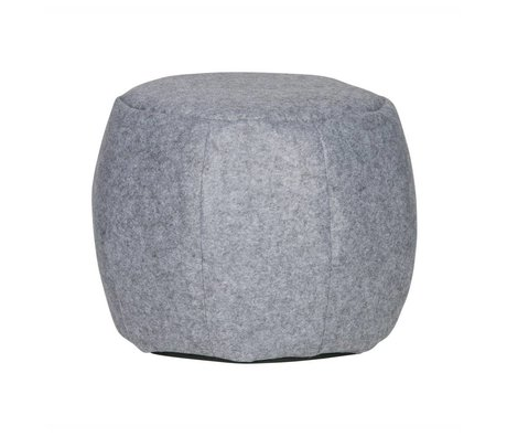 LEF collections Pouf Sef gray felt Ø53x37cm