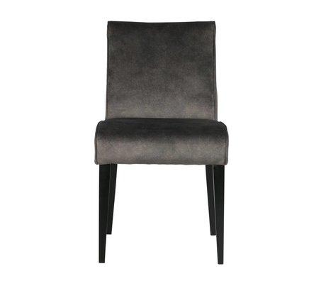 LEF collections Chaise de salle à manger Rose foncé gris textile bois 42x56,5x84,5cm