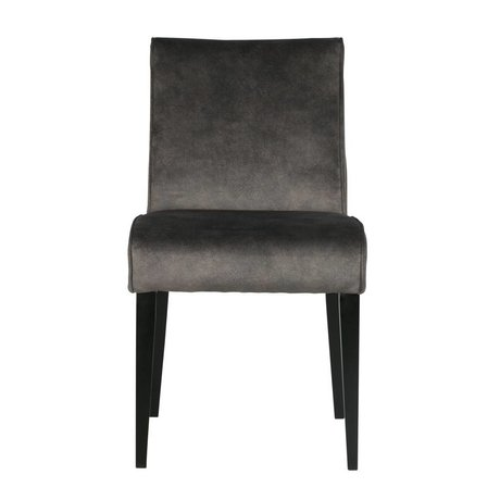 LEF collections Dining chair Rose dark gray textile wood 42x56,5x84,5cm