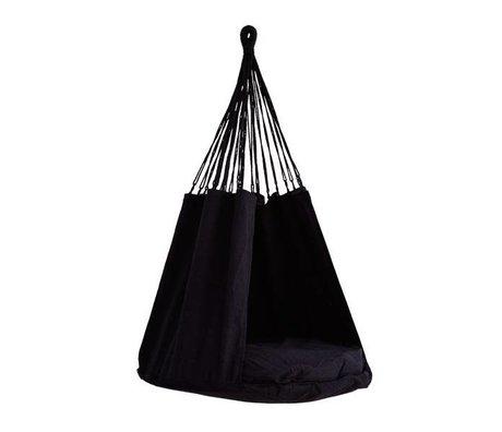 Madam Stoltz Hanging chair black textile 80x120cm