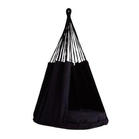 Madam Stoltz Chaise suspendue en textile noir 80x120cm