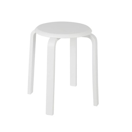 LEF collections Stool Diede white wood Ø40x45cm
