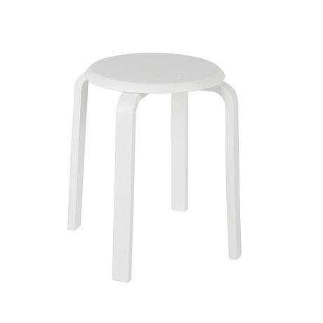 LEF collections Tabouret Diede blanc en bois Ø40x45cm