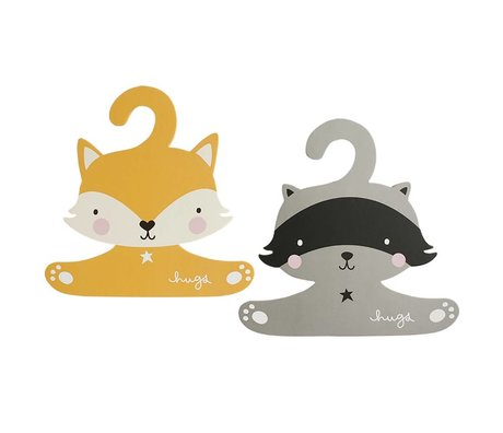 A Little Lovely Company Clothing hanger set Raccoon & fox 27,4x27,6cm