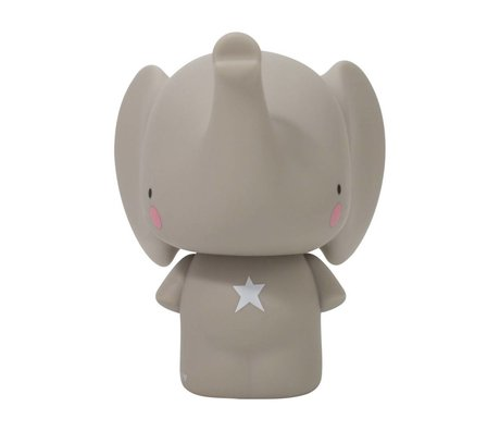 A Little Lovely Company Spaarpot Grijze olifant PVC 12,5x16,2x15 cm