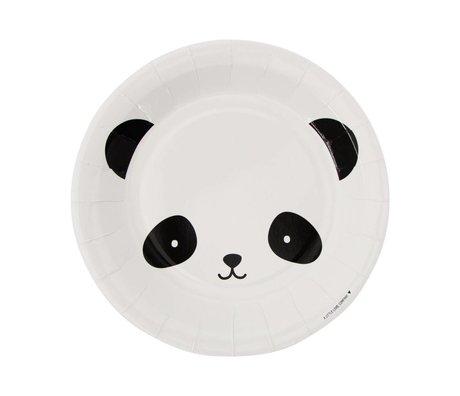 A Little Lovely Company Paper plates Panda black white 22,6x2,2x22,6cm set of 12
