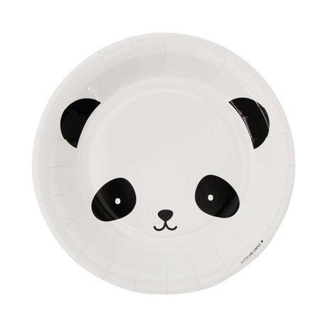 A Little Lovely Company Papieren bordjes Panda zwart wit 22,6x2,2x22,6cm set van 12