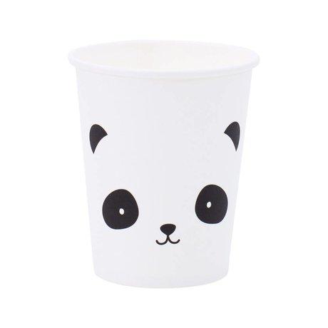 A Little Lovely Company Gobelets en papier Panda noir blanc 7,4x8,6x7,4cm lot de 12