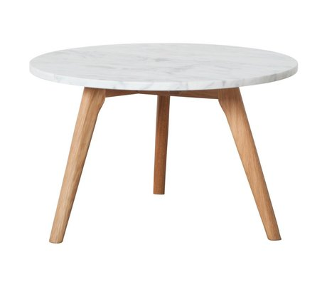 Zuiver Occasional table Whitestone large white marble gray Ø50x32cm