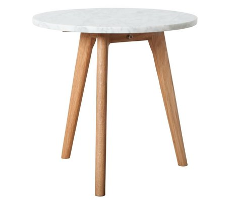 Zuiver Occasional table white marble white stone medium gray Ø40x40cm