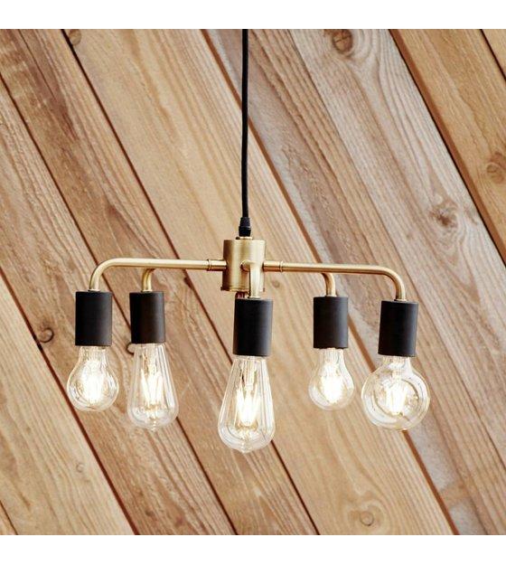Luminaire suspendu laiton noir or métal 45x25cm