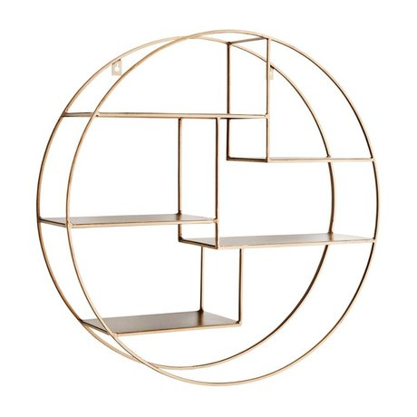 Madam Stoltz Wall rack round brass gold metal ∅61x15,5cm