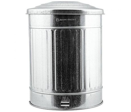 Housedoctor Trash can silver zinc 24 liter Ø25,5x48cm