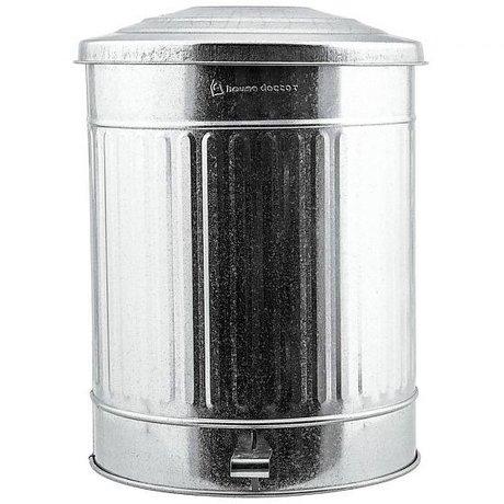 Housedoctor Poubelle en zinc argenté 24 litres Ø25,5x48cm