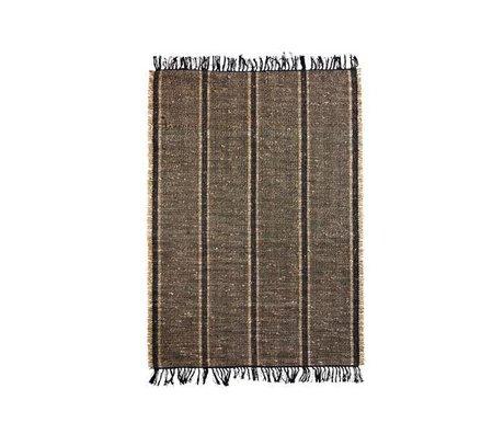 Madam Stoltz Vloerkleed Seagrass zwart naturel bruin katoen 120x180cm