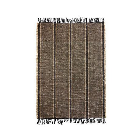 Madam Stoltz Tapis Seagrass noir naturel coton brun 120x180cm