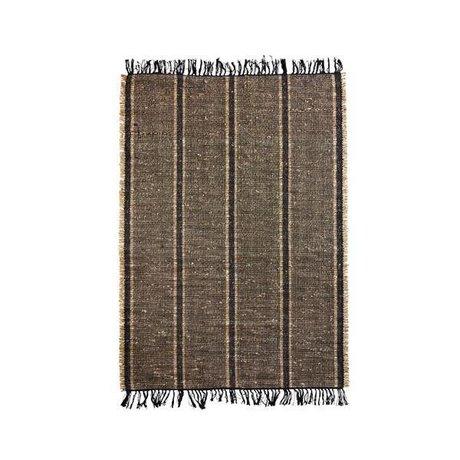 Madam Stoltz Teppich Seegras schwarz naturbraun Baumwolle 120x180cm
