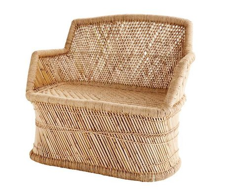 Madam Stoltz Bench bamboo natural brown bamboo rope 90x48x85cm