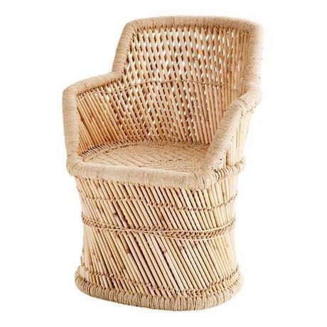 Madam Stoltz Fauteuil bamboe naturel bruin bamboe touw ∅45x78cm