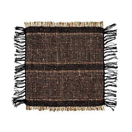 Madam Stoltz Placemat Seagrass zwart naturel bruin katoen 40x46cm